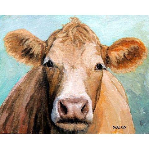 Guernsey Cow Art Farm Animal 8x10 Print Face on by DottieDracos