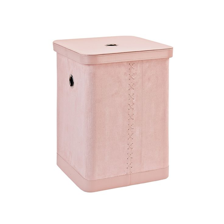 132$ Add a touch of elegance to your bathroom with this Fraser laundry bin from Aquanova. Blush pink in colour, it's made from suede with faux leather detailing & features practical metal grommets to tra