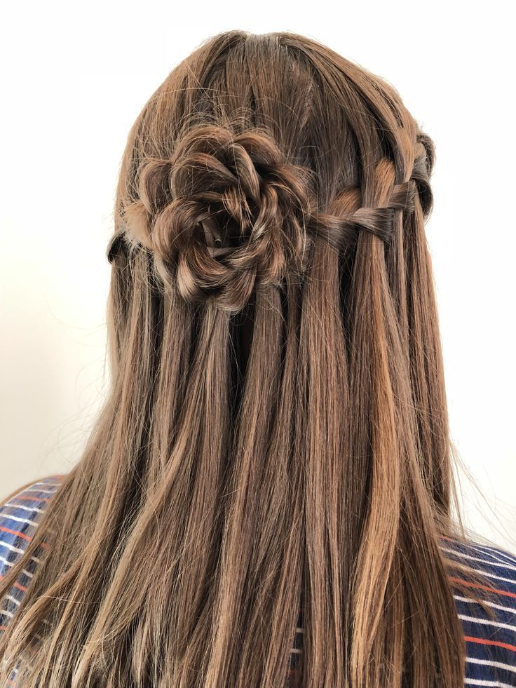 Half up half down rosette hairstyle