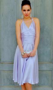 Satin Lavender Halter Dress