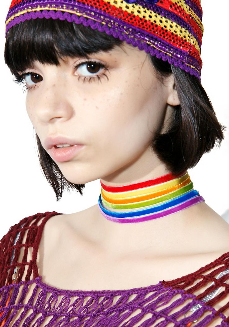 Starlite Rainbow Choker Set cross the universe on yer own rainbow bridge, babe! Make the world brighter and hearts lighter with this sweet set featuring 6 separate chokers made out of soft velvet ribbon with standard clasp closures. Wear 'em separately, mix N' match or wear all of them at once for a full rainbow effect!