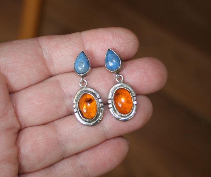 Vintage Native American Denim Lapis & Amber Post Earrings plus Free USA Shipping! by Route66Diner on Etsy