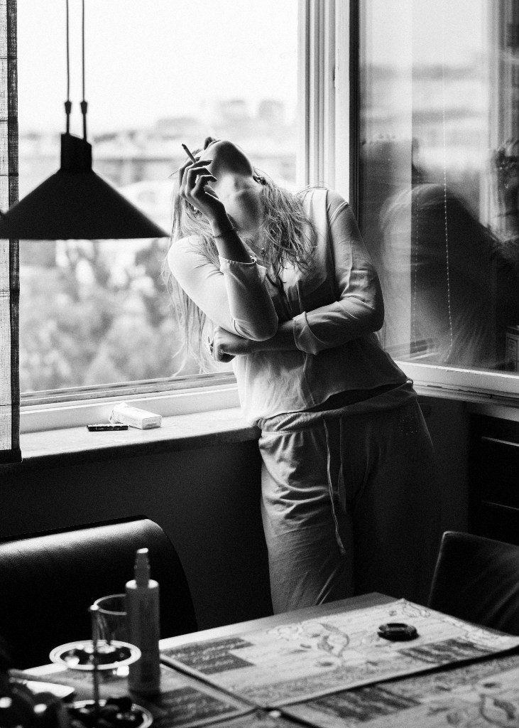 smoking | lean | smoke | office | open window | black white | coffee break…