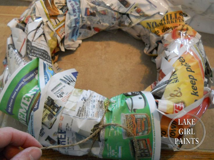 Lake Girl Paints blog: how to make a Super Cheap Wreath Form...also in this tutorial are instructions for a different kind of coffee filter flowers to add on top of the wreath form.