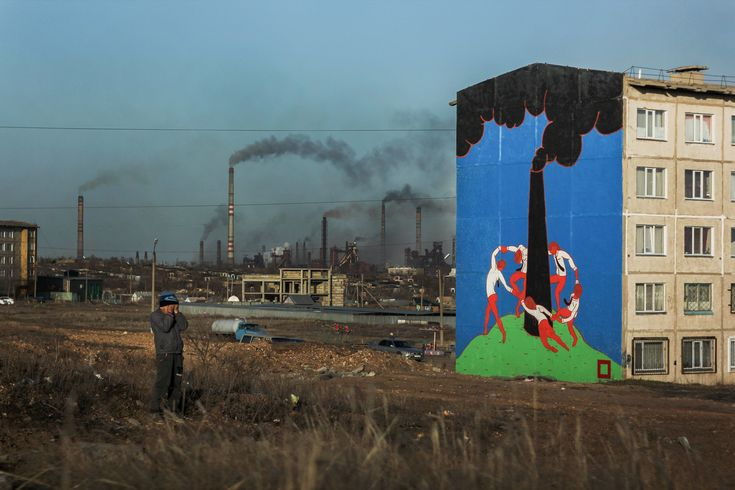 A mural created by street artist Pavel Kas in the industrial city of Temirtau, Kazachstan