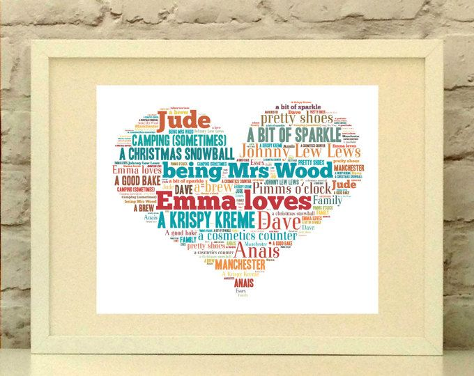Personalised print ideal for Valentines day or a wedding gift.  Made to order. Ships world wide.  #pepperdoodles #weddinggift #valentinesday