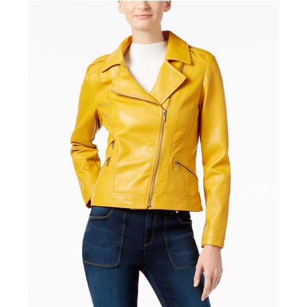 Inc International Concepts Faux-Leather Moto Jacket, (€87) ❤ liked on Polyvore featuring outerwear, jackets, mustard yellow, vegan leather moto jacket, faux leather motorcycle jacket, moto jacket, vegan biker jacket and inc international concepts jackets