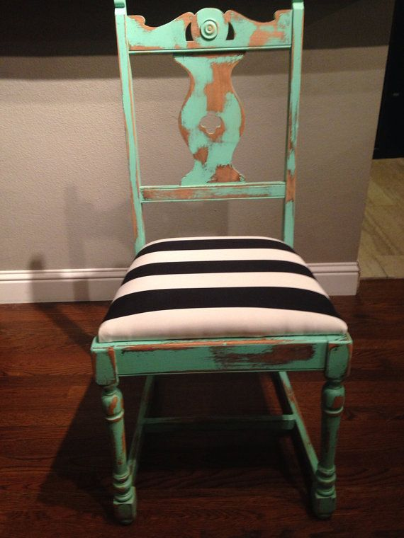 Distressed Mint Green Chair with a Black and White by refinedDUST, $92.00