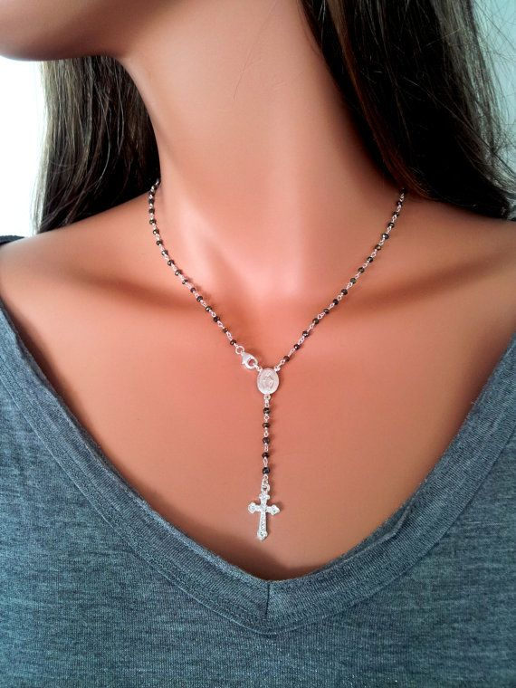 Yolanda Faster Rosary Inspired Cross Necklace Sterling Silver Rosary Style by divinitycollection, $89.00