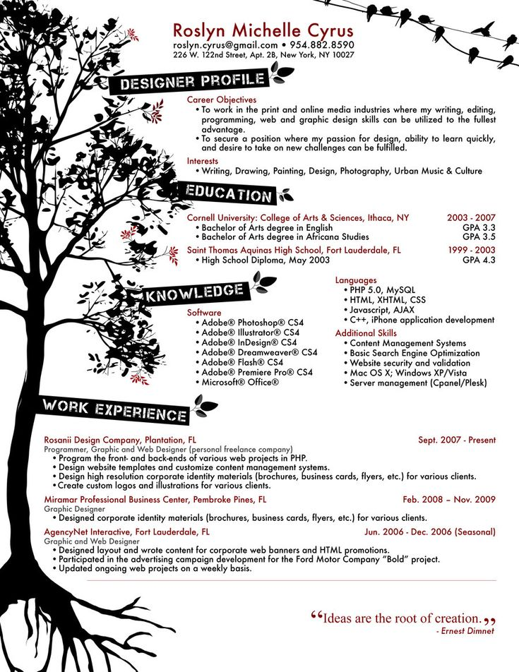 Sample Creative Resume. Examples Of Creative Graphic Design