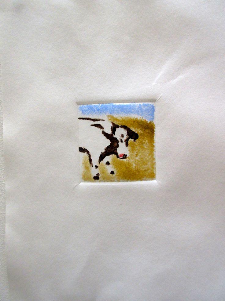Mono print of a cow