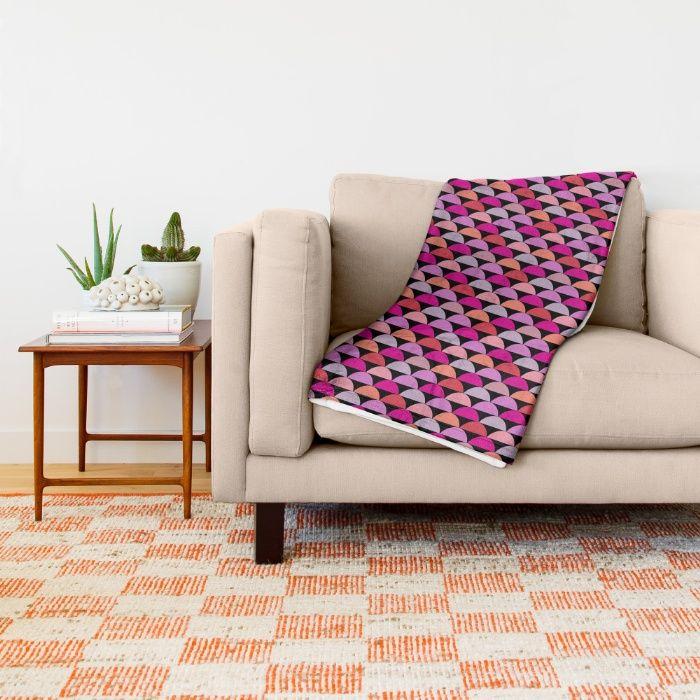 Retro Chic - Bright Throw Blanket by Maritta Jones Design | Society6