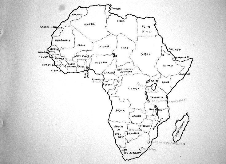 Vecchia carta geografica dell'Africa