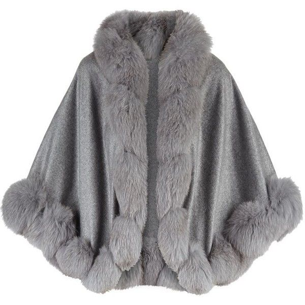Harrods of London Cropped Fox Fur Trim Cape ($1,455) ❤ liked on Polyvore featuring outerwear and cape coat