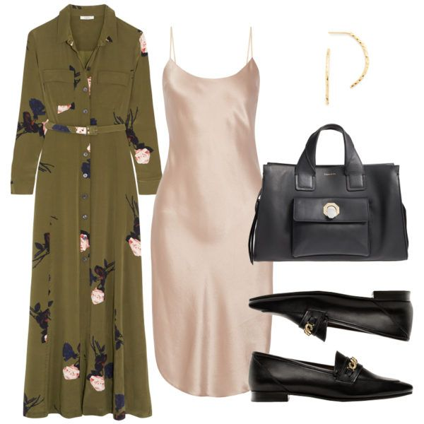 A button-down maxi worn open as a jacket is cool over a mid-length slip dress. Substantial accessories keep the look from feeling too prim. Floral-Print Silk Crepe De Chine Maxi Dress, Ganni $530 Silk-Charmeuse Dress, Maiyet $515