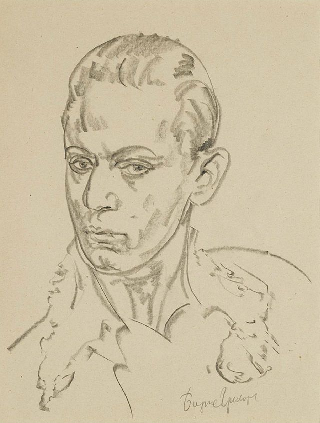 Serge Lifar by Boris Dmitrievich Grigoriev - Category:Portraits by Boris Grigoriev - Wikimedia Commons