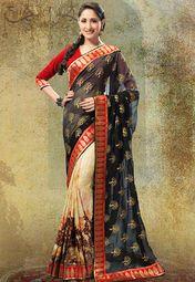 Admyrin Black Embroidered Saree Online Shopping Store