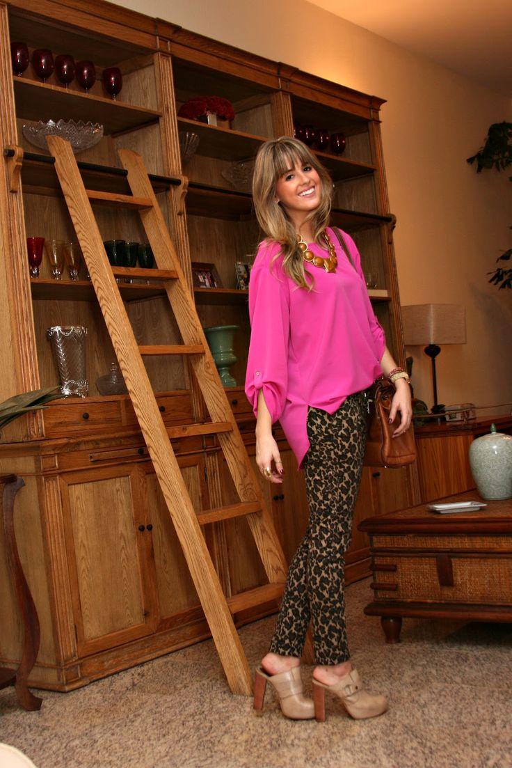 calça onça e pink