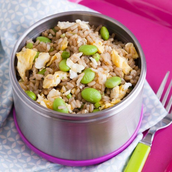 Warm and nourishing, this panfried rice is a brown-bag favorite. The dish starts with a couple of scrambled eggs to which rice, edamame, and seasonings are added. If you happen to be making eggs for breakfast, it's just a few extra steps to make this savory lunch dish. Naturally, brown rice is more nutritious than white. Leftover farro or barley make tasty substitutions.
