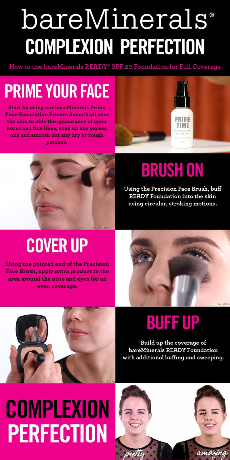 Here's our guide to full coverage using #bareMinerals READY Foundation. A #makeup #tutorial for applying pressed powder foundation for radiant skin.