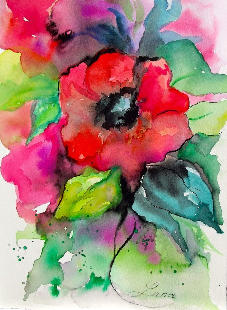 Abstract original watercolor painting free shipping for Abstract watercolour flowers