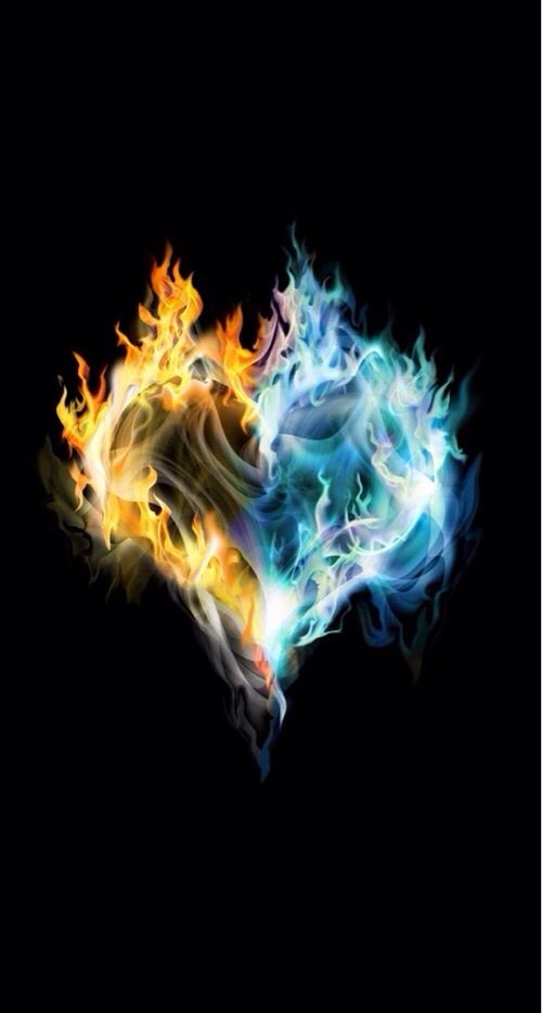 Fire & Ice Heart shaped