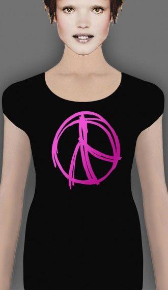 Flourescent Pink Peace Warrior Black short sleeve tee