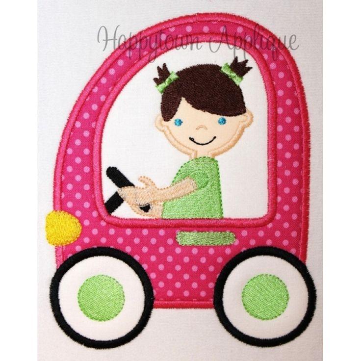 Car with Girl Applique Design