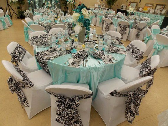 Custom Made Satin Aqua Blue Tablecloth 60 Inch Round Blue