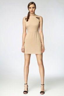 MISEBLA beżowa sukienka z tiulowymi wstawkami