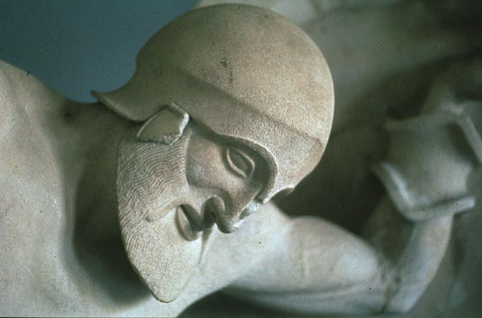Fallen Warrior from the East Pediment of the Temple of Aphaia at Aegina, c. 490-480 B.C.
