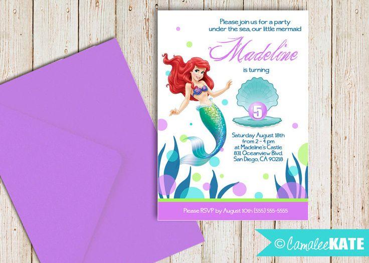 Best Invitations ArielLittle Mermaid Images On Pinterest - Ariel birthday invitations printable