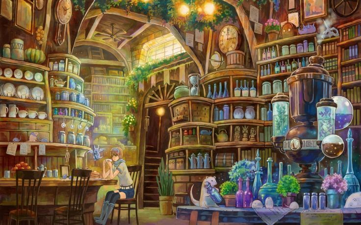lights bottles cups clocks stairways fantasy art chairs artwork anime girls potion plates arches shelves jars interior design wallpaper background