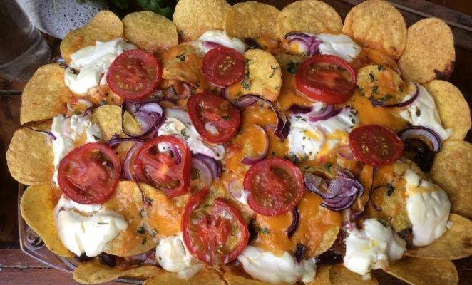 Kip Enchiladas met taco chips. Super lekker!!