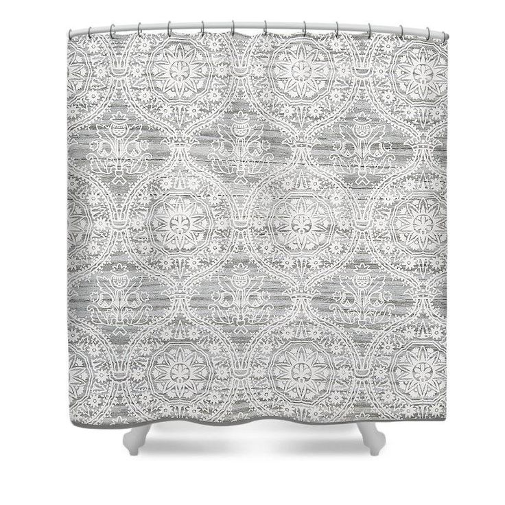 Farmhouse Shower Curtain Gray Wood