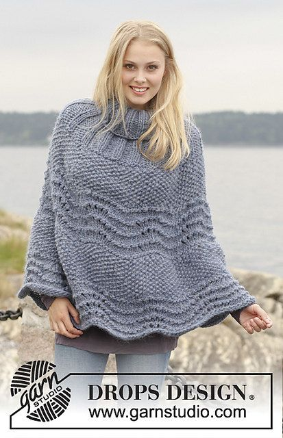 Hand Knitted poncho with wavy pattern in wool by BeautifulSunrise, £85.00