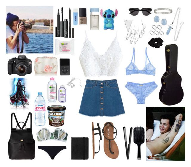"""""""don't let me go"""" by lu-fonsecaa ❤ liked on Polyvore featuring Monki, Kendra Scott, Nivea, Evian, Dolce&Gabbana, GHD, Beach Riot, Zimmermann, Yves Saint Laurent and NARS Cosmetics"""