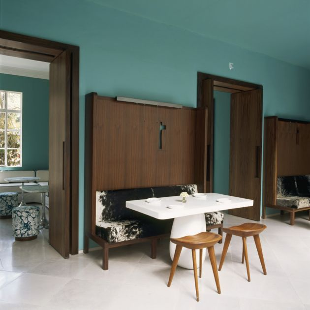 BassamFellows tractor stools in Condesa DF Hotel by Javier Sánchez and India Mahdavi.