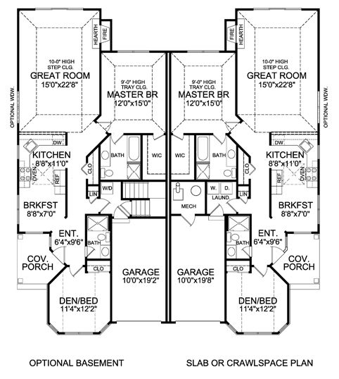 atterbury duplex house plan 5283 2 bedrooms and 2 baths the - Designs Of A House