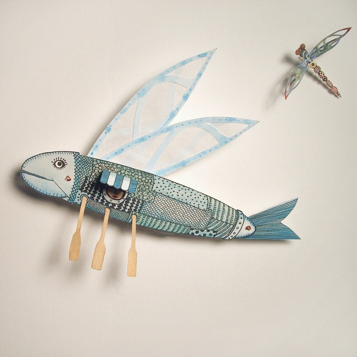 Paper Flying Fish, Moveable Sculpture.