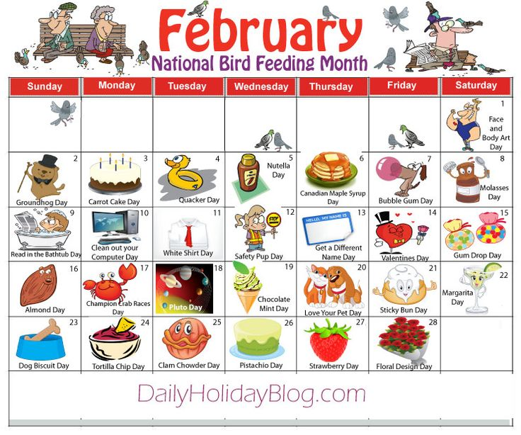 february daily holidays calendar