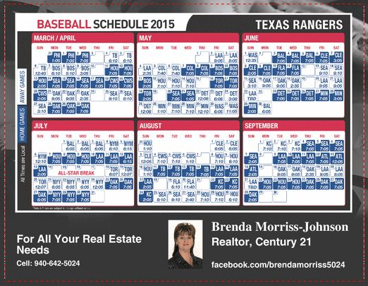 Texas Ranger Baseball Schedule...