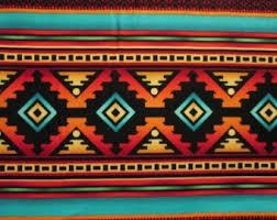 Navajo Native American Multi Traditional Teal Orange Cotton Fabric Fat Quarter…