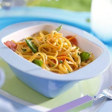Reunion Noodle Salad: Soy sauce, lemon olive oil and garlic create a flavorful dressing for this pasta and vegetable salad. Serve it at family reunions or other potluck gatherings!