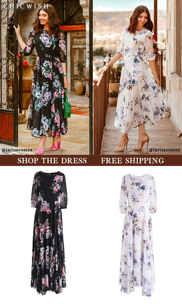 Up to 30% Off. Full Bloom Asymmetric Floral Printed Maxi Dress featured by  larisacostea. Valentine …  8427f5e8c