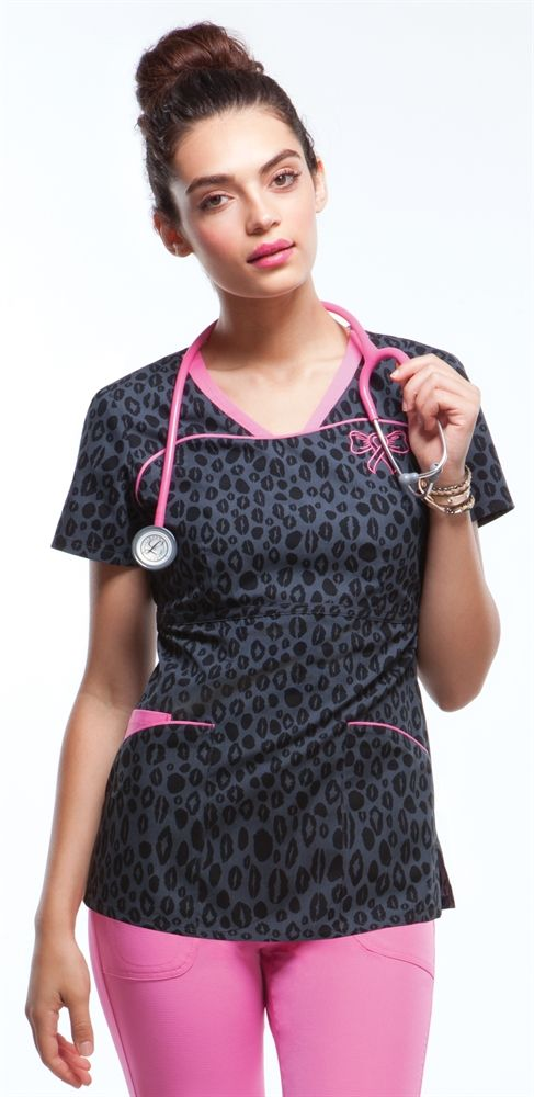 Scrubs - Heartsoul 100% Cotton Lipstick Leopard Embroidered Scrub Top | HeartSoul Scrubs | Brands | www.LydiasUniforms.com