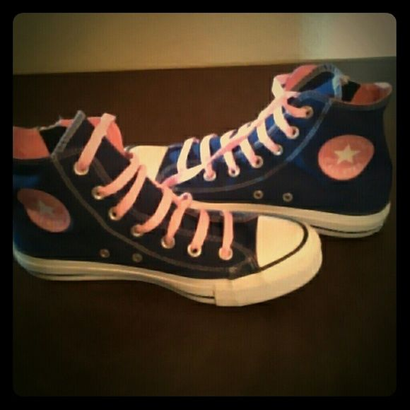 Pink and purple converse high tops. Nwot Brand new. Only worn once but got to small. Very cute and comfortable! Converse Shoes