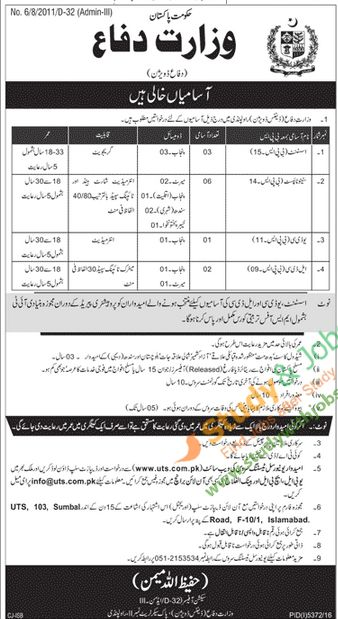 Government Jobs in Ministry of Defence 12th April 2017