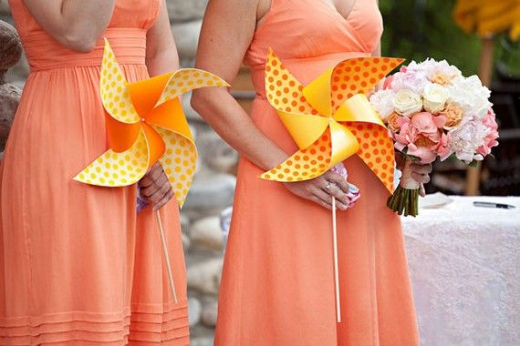 As Seen in Real Simple Weddings Custom Designed For You - Pinwheel Wedding Party Set of 4 Pinwheels and 4 Boutonnieres by Rule42