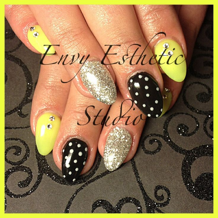 Bright Gel Nails with Polka Dots -by Envy Esthetic Studio
